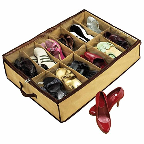 MK 12 Pair Tote Storage Organizer Holder Shoe Bag Box Under Bed (Assorted)