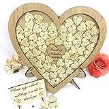 personalisierbar Eiche Hochzeit Herzform Gästebuch Auswahlfeld Holz 56Herzen Hochzeitstag Geschenk Rustikaler Shabby Chic 35x 35cm