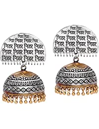 Trijya Exports Hand Made Designer Silver Two Tone Oxidised Plating NIDAR TEXTURE Jhumka Earring For Women & Girls