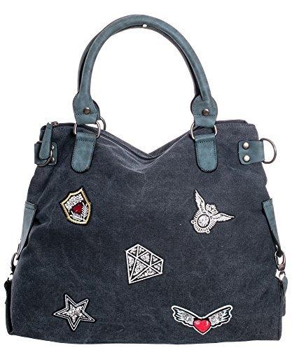 Damen Handtasche Tasche mit Stern Canvas Tasche Umhängetasche Schultertasche canvas Henkeltaschen dunkel jeans 06633