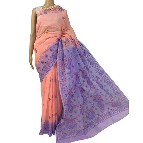 R'ZU Women's Peach with Purple Designer Lucknowi Chikankari Cotton Saree