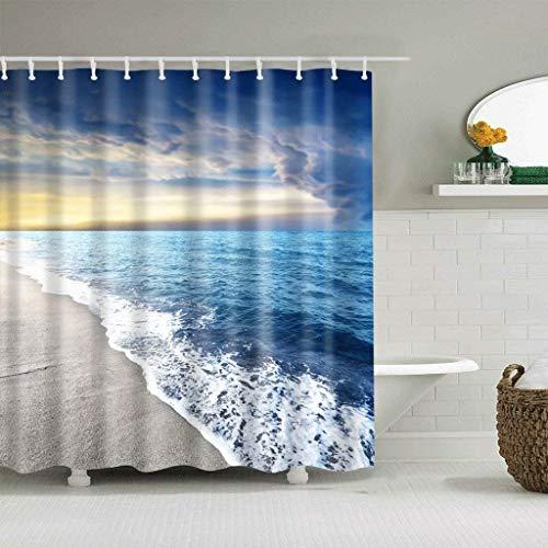 DKHJD Duschvorhänge Twilight Beach Wasserdichtes Modell schnell trocknen die Umwelt das metallische Material Haken Loch (Größe: 180 * 200 cm), 150 * 180cm