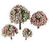 Yetaha 4pcs Pfirsich Blumen Modell Bäume Layout Zug Eisenbahn Landschaft HO OO Z Skala