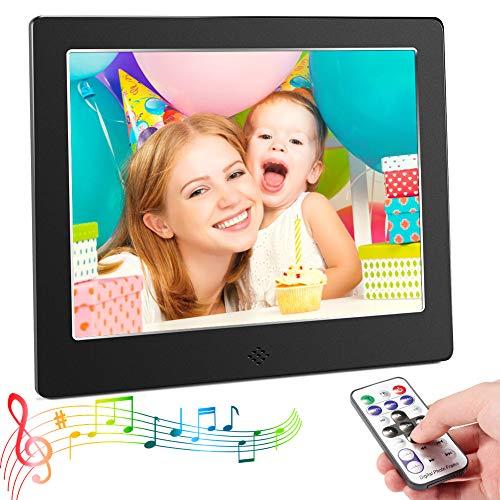 Digitaler Bilderrahmen,CrazyFire Full HD Elektronischer Fotorahmen 8 Zoll 4: 3 Elektronisches Video Musik Foto Player mit E-Book, Kalender, Fernbedienung, USB und SD-Kartensteckplatz(Schwarz)