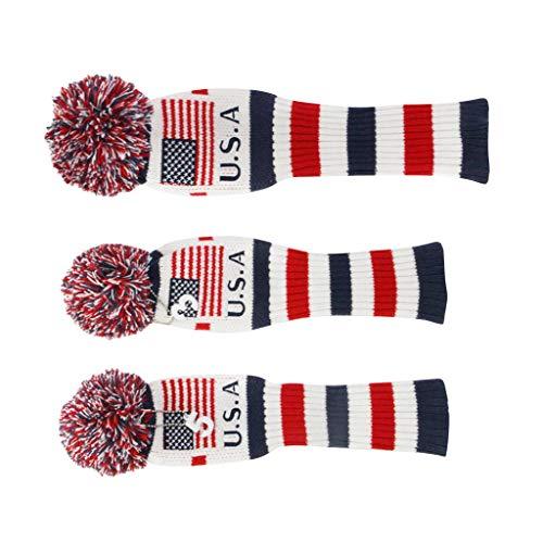 perfeclan Golf Club Iron Headcover Kopfbedeckungen 3Pcs Golf Gestrickte Sock Headcovers - Amerika Flagge -