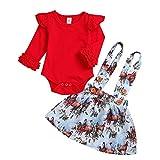 TPulling Baby Mädchen Junge Kleidung Strampler Tops + Tutu Röcke Cartoon Weihnachten Outfits Set