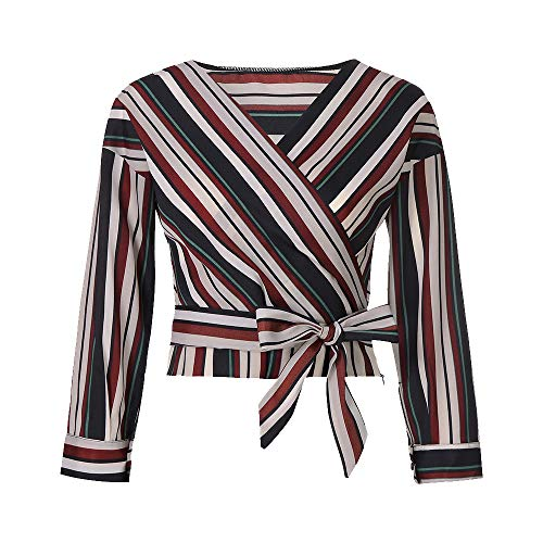 OSYARD Damen Buntes Gestreiftes Hemd Blusen Tuniken, Womens Herbst V-Ausschnitt Top Langarm Farbe Gestreifte Bluse (XL, Rot)