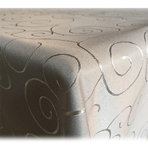 JEMIDI Tischdecke Ornamente Seidenglanz Edel Tisch Decke Tafeldecke 31 Größen und 7 Farben Hellgrau 130x220