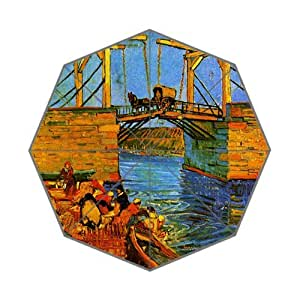 Hot Design Vincent van Gogh Famous Painting Printed 43.5 inch Wide Auto Foldable Umbrella!Perfect as Gift!
