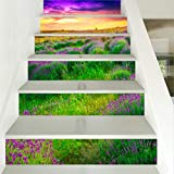 HAIMACX Fliesen Aufkleber Malerei Tal Wandbild Dekoration 6 Treppen Lavendel Sonnenuntergang Schönheit Einfach
