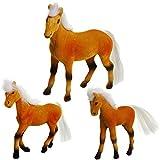 Unbekannt 3 TLG. Set _ Pferdefamilie -  braun / schwarz  - Pferde beflockt - weiches Fell - aus Kunststoff - mit Mähne & Schweif - zum flechten / Pferdeschwanz - Pfer..