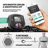 Messe-Neuheit 2019! Smart Fitness Trampolin mit APP + Sprungzähler & Pulsgurt, 133 cm, klappbar, 8fach höhenverstellbarer Haltegriff mit Handy- & Flaschenhalterung, HTX100 Indoor Jumping Workout - 5