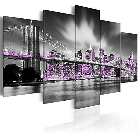 Cuadro 200x100 cm - 3 tres colores a elegir - 5 Partes - Formato Grande - Impresion en calidad fotografica - Cuadro en lienzo tejido-no tejido - New York 030102-25 200x100 cm B&D XXL