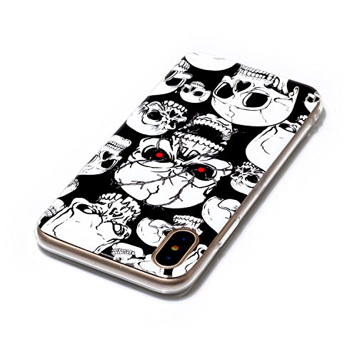 Vandot 2 en 1 Etui pour iPhone X Souple TPU Silicone Housse Clair Transparente Coque pour iPhone X / iPhone 10 Ultra Mince Ultra Léger Cover Absorption de Choc Antidérapant Anti-rayures Case pour iPho Modèle 09