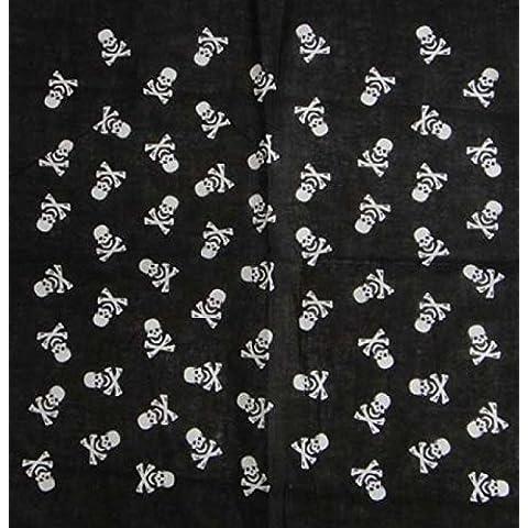 Bandana 100% cotone, motivo: piccoli teschi, nero e bianco