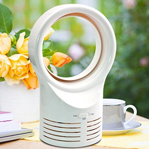 sunnymi Tischventilatoren Luftgebläse Air Fan Desktop Blattlos Kühlender blattloser Tabellen-Art-beweglicher Fluss-kühler Mechanischer Ventilator-rauscharmer Benchtop (Weiß) 75 Mobile Plugin