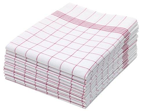 ZOLLNER 10er Set Geschirrtücher, 50x70 cm, 100% Baumwolle, rot kariert (Rot Geschirrtuch)