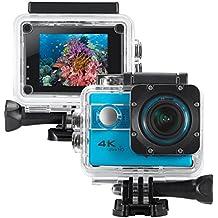 "icefox ® cámara deportiva 4k,Cámara de Casco Sumergible 30M con Lente Sony Gran Angular 170°,Control Remoto WIFI,Pantalla 2.0"",1080P Grabación HD para Buceo,Moto,Surf,Navegación y Esquí (Azul)"