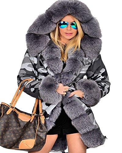 Roiii® Frauen Winter Camouflage Dicker Grauer Pelz Parka Lange Kapuzenjacke Mantel (42/44, Grau 7001)