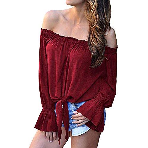 ESAILQ Frauen Mädchen Strapless Star Sweatshirt Langarm Crop Jumper Pullover Tops (L, Wein)