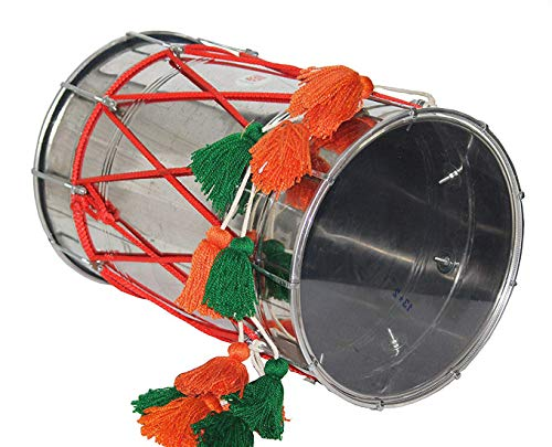 Makan Steel Punjabi Special Bhangra Dhol/Dholak/Dholki Drum With Carry Bag