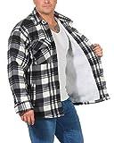 ZARMEXX Herren Thermohemd Jacke mit Plüschfell Fleece Innenfutter Karo Holzfällerjacke Arbeitsjacke Flanelljacke Kariert warm gefüttert grau/weiß L(52)