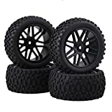 BQLZR 4Pcs Mesh Shape Wheel Rim and Rubber Tires for RC 1:10 Off-Road Car