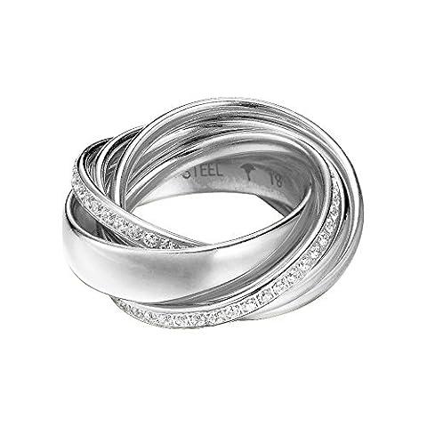 Joop! Damen 6er Ring Embrace Edelstahl silber Glas weiß JPRG10631A180, Ringgröße:60 (19.1 mm Ø)