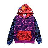 Men's Bape Stitching Plus Velvet Loose Sweater Casual Hooded Jacket