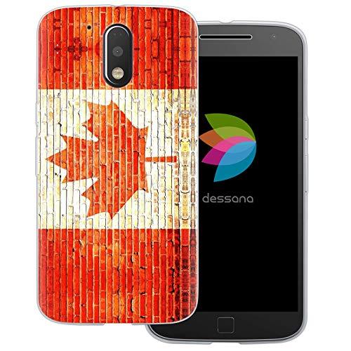 dessana Kanada Transparente Schutzhülle Handy Case Cover Tasche für Motorola Moto G4 Plus Backstein Kanada (Motorola-backstein-handy)