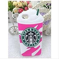 3D Starbucks Ice Cream Soft Silicone Case Cover (iphone 6 plus, Rose red#6 plus)