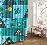 LINGCURTAIN Blumen Blütenblätter Duschvorhänge Weiß Blau Stoff, Wasserdichtes Anti-mehltau Badezimmer Dusche Vorhang Shower Curtain 60