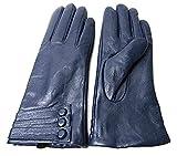 Unbekannt Damen NEU super weich Premium Echt Leder Handschuhe Vollständig gefüttert Winter Alltag verschiedene Farben - Blau, M