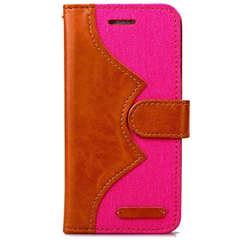 iPhone 6S Plus Hülle Case,Gift_Source [Photo Frame] [Karten Slots] [Double Color Stitching] Luxury Denim Fabric Entwurf PU Leather Magnetic Closure with Stand Flip Hülle Case für iPhone 6S Plus/6 Plus E01-04-Rose160627