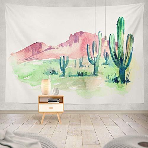 Wüste Südamerika mit Wüste Aquarell Western Kaktuslandschaft Berge Amerika Dekorativer Wandteppich, 152,4 x 203,2 cm Wandteppich für Schlafzimmer Wohnzimmer 60x70 inches weiß ()