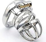 HESTEH Gabbia per castit¨¤ maschile Dark Lock Acciaio inossidabile con anello ad arco, Cintura di castit¨¤ per pene stile corto, lunghezza gabbia 45mm (anello 50MM)