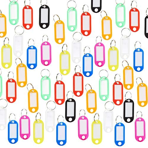 hlüsselanhänger - 150 Pack Tough Kunststoff-Schlüssel-ID-Aufkleber-Namensschilder mit Ringhaltern Rucksack, Gepäck, Haustiere, 2,5 x 1,8 Zoll Mehrfarbig ()