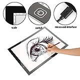 A3 Mesas de Luz Dibujo Caja de Luz Portátil Tableros de Dibujo LED Dibujo de Tableta Luz Ajustable para Dibujo de Copia y Animación con USB, Diseño Ultra Delgado