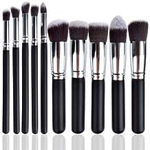 Juego de 10 brochas de maquillaje Kabuki para sombra de ojos, brochas de maquillaje sintéticas para cejas, cejas, correctores, polvos, Viteman Group Ltd