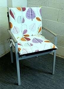 Zippy Coussin pour fauteuil à dossier bas Motif fleurs violettes Chaise de jardin Dos imperméable