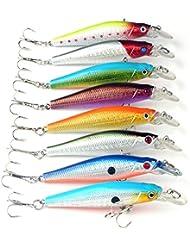 "Anddas 8.9g 3.34"" 8.5cm Crankbait Fishing Lure Float Swim Minnow Bass Tackle Baits (8pcs)"