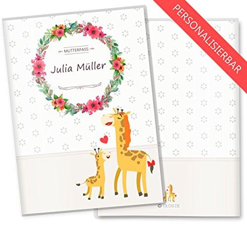 kunststoff mutterpass hülle personalisierbar mit giraffe
