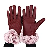Alxcio Women Lady Touch Screen Gloves Leather Gloves Autumn Winter Warm Lined Faux Rabbit Fur Mittens Driving Glove,Red