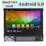 Eincar 2 GB di RAM Android 6.0 Universal Single Din autoradio 1 DIN capo unit¨¤ GPS Sat di navigazione con supporto multifunzione Phone System Mirroring, DAB +, OBD2, Wi-Fi 3G, Radio RDS, USB 64GB di deviazione standard, Bluetooth, controllo del volante, AV OUT, Subwoofer immagine