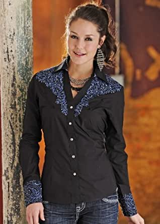 PANHANDLE - chemise chemisier style western country cowboy - femme - taille L - coloris noir broderies bleues et strass