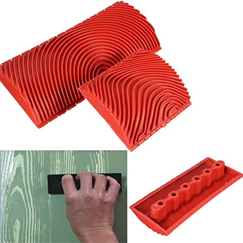 genialkiki Holzmaserung Werkzeug Rote Silikon Multifunktions Textur Pinsel DIY Wand dekorative Kunst Werkzeug 3-Zoll 6-Zoll -