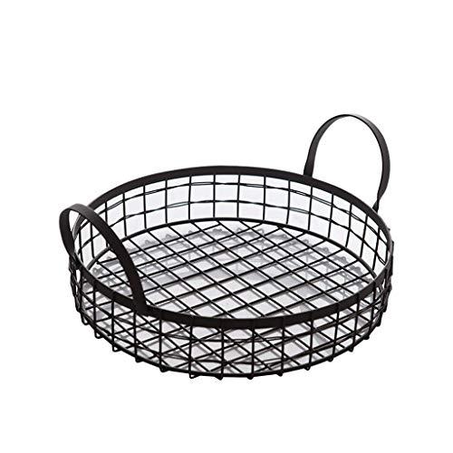 BAIJJ Weinlese-Schmiedeeisen-Einkaufskorb mit dem Griff-Behälter für Inneneinrichtung, schwarz (Stapelbar Dessertteller)