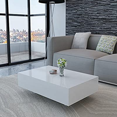 White High Gloss Coffee Table 85 cm - low-cost UK light store.