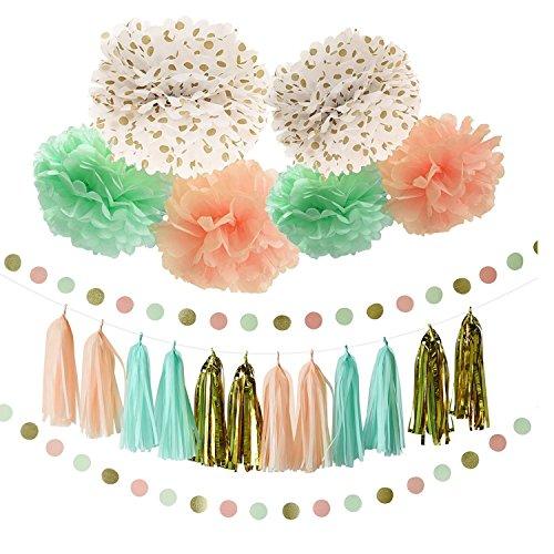 20 Stücke Mint Pfirsich Tissue Pom Poms Gold Quaste Papier Girlande Hochzeit Baby Party Dekoration (Tissue-papier Dot Polka)
