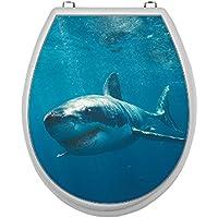 Adhesivo para asiento de inodoro cubierta de tapa de WC (vinilo adhesivo adhesivo para asiento de inodoro, diseño de tiburón
